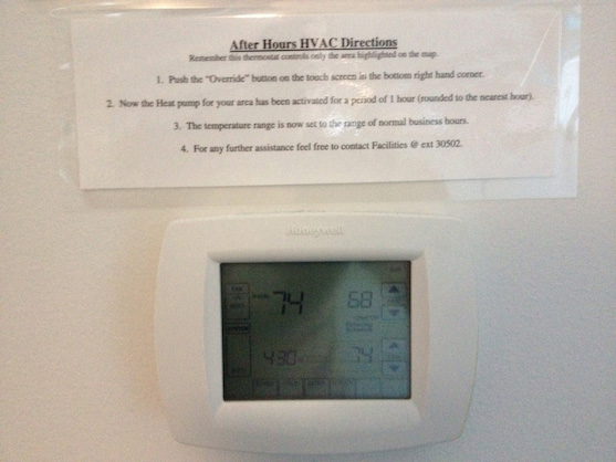 Complicated programmable thermostat instructions in the office