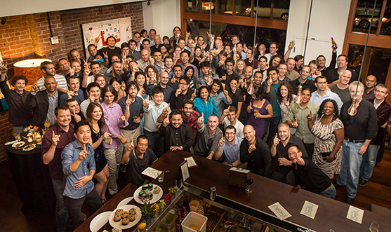 The entire Nest Labs team celebrating Nest's one year anniversary