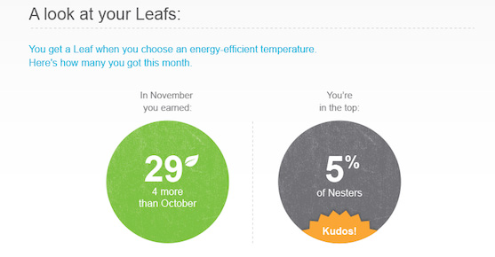 See how many Nest Leafs you earned on the Nest Learning Thermostat with the Nest Energy Report