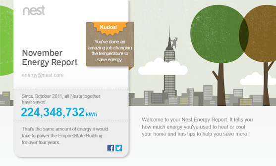 The redesigned Nest Energy Report gives you the big picture of how much Nest thermostats have saved