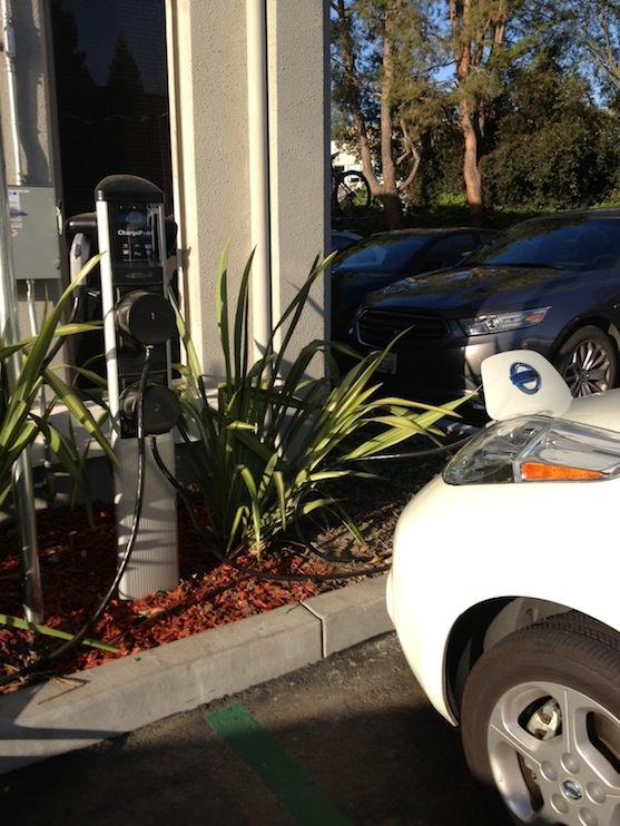One of the ChargePoint EV charging stations at the Nest office