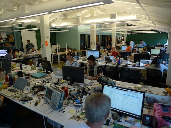 Desks in our startup office at Nest