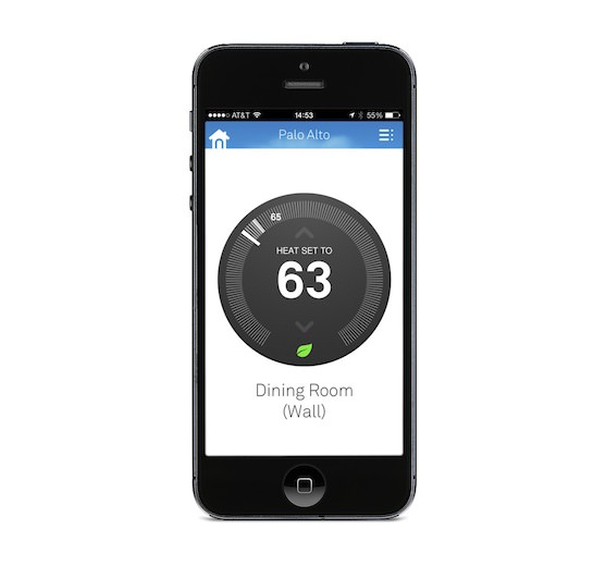 The Nest app lets you change the temperature on the Nest Learning Thermostat
