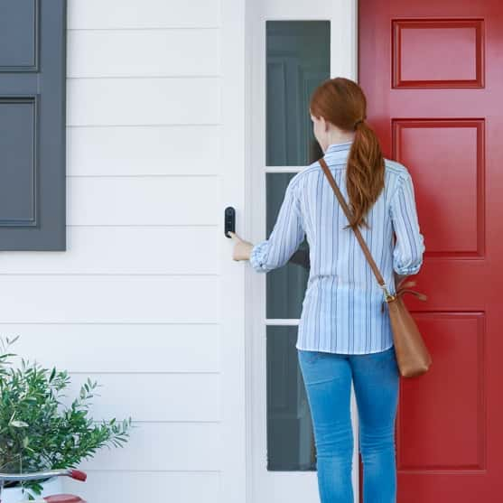 The front door is where home begins. It's the entryway to special moments with family and friends. When the door opens, it signals a warm welcome. And when it's closed, it provides security. So we've designed two new products that help make your front door safe and secure, yet still keep it friendly and welcoming.