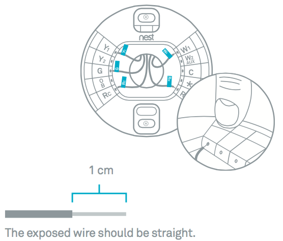 Connect the wires to your Nest Thermostat's base by following the wiring diagram that you got from the Nest Compatibility Checker.