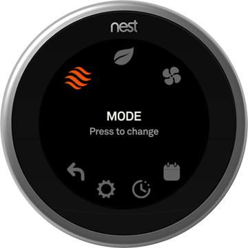 how to manually set your nest thermostat to heating cooling eco temperatures or off. Black Bedroom Furniture Sets. Home Design Ideas